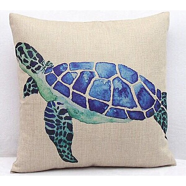 Nanticoke Sea Turtle Canvas Square 100% Cotton Throw Pillow by Rosecliff Heights
